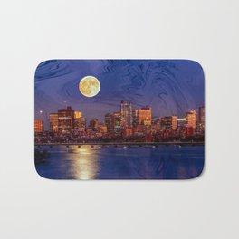 Moon light night, Boston MA Bath Mat