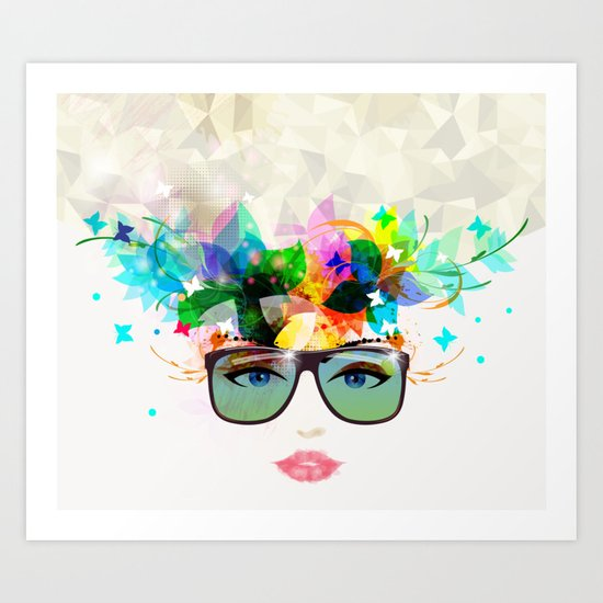 Woman face with sunglasses Art Print