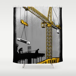 The Power of Tower Crane Shower Curtain