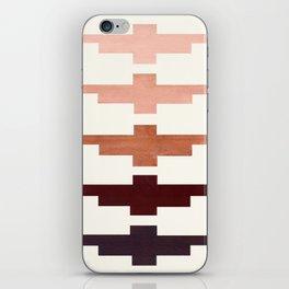 Mid Century Minimalist Ancient Aztec Inca Geometric Pattern Watercolor Raw Umber Colorful Gouache Pa iPhone Skin