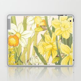 Vintage Floral Paper:  Spring Flowers on Shabby White -Daffodils Laptop & iPad Skin