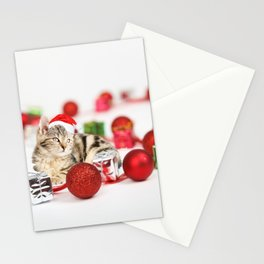 A Cute Cat Christmas Gift Box Ornaments Red Santa Hat Stationery Cards