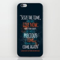 """picard iPhone & iPod Skins featuring """"Live now; make now always the most precious time. Now will never come again"""" Captain Picard by Elizabeth Cakovan"""