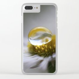 Daisy Macro Droplet Clear iPhone Case