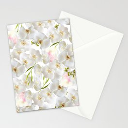 Elegant white orchid blush pink watercolor floral Stationery Cards