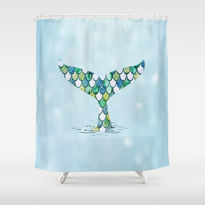 Mermaid Tail Blue Dreamy Sea Shower Curtain By Lisaliza