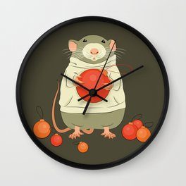 Mouse with a Christmas ball II Wall Clock