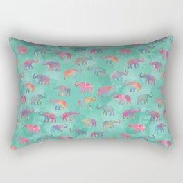 Elephants on Parade Watercolor Green Rectangular Pillow