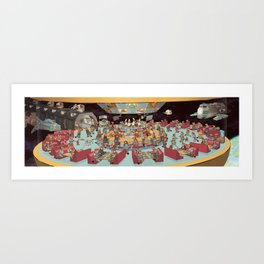 Red Pandas In Space Getting Burgers and Shakes Art Print