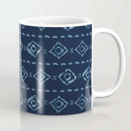 Indigo Blue Batik Dye Hand Drawn Grunge Diamond Coffee Mug