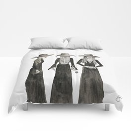 Southern Gothic Witch Coven Watercolor Comforters
