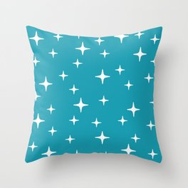 Mid Century Modern Star Pattern 443 Turquoise Throw Pillow