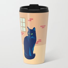 Black cat on the street Travel Mug