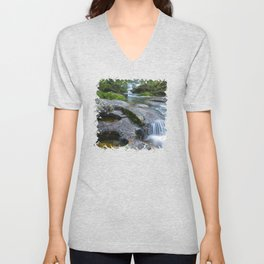 Waterfalls in wild forest Unisex V-Neck