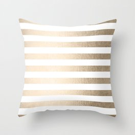 Simply Striped in White Gold Sands Throw Pillow