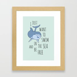 I Just Want to Swim in the Sea and be Free - Dolphin Framed Art Print