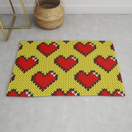 Knitted heart pattern - yellow Rug