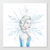 elsa Canvas Prints featuring Elsa by RebeccaKateArt