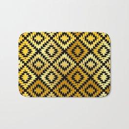 Turkish carpet gold black. Patchwork mosaic oriental kilim rug Bath Mat