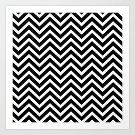Chevron Pattern - Black and White Art Print