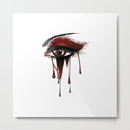 Red vampire eye makeup Metal Print