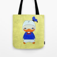 donald duck Tote Bags featuring A Boy - Donald Duck by Christophe Chiozzi