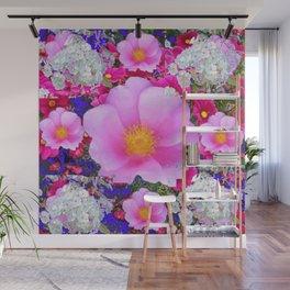MODERN ART FUCHSIA ROSES  WHITE FLORAL GARDEN Wall Mural