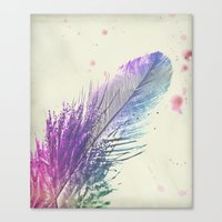 feather Canvas Prints featuring Feather  by Monika Strigel