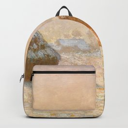 Wheatstacks, Snow Effect, Morning by Claude Monet Backpack