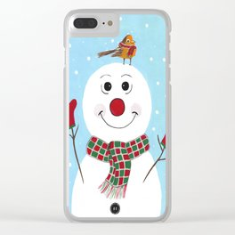 Red Mittens Snowman Clear iPhone Case