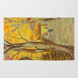 Asano Takeji Japanese Woodblock Print Vintage Mid Century Art Autumn Trees Shinto Shrine Rug