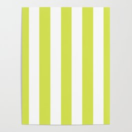Maximum green yellow - solid color - white vertical lines pattern Poster