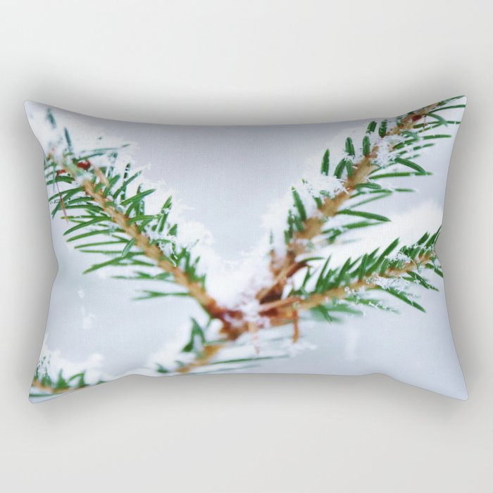 Spruce twig with snowflakes on blue Rectangular Pillow