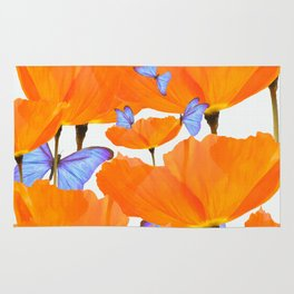 Poppies And Butterflies White Background #decor #society6 #buyart Rug