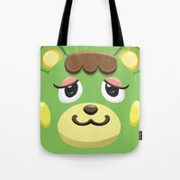 animal crossing Tote Bags featuring Animal Crossing Charlise by ZiggyPasta