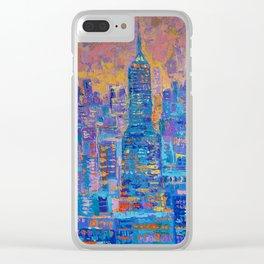 Manhattan - palette knife urban New York skyline city landscape by Adriana Dziuba Clear iPhone Case