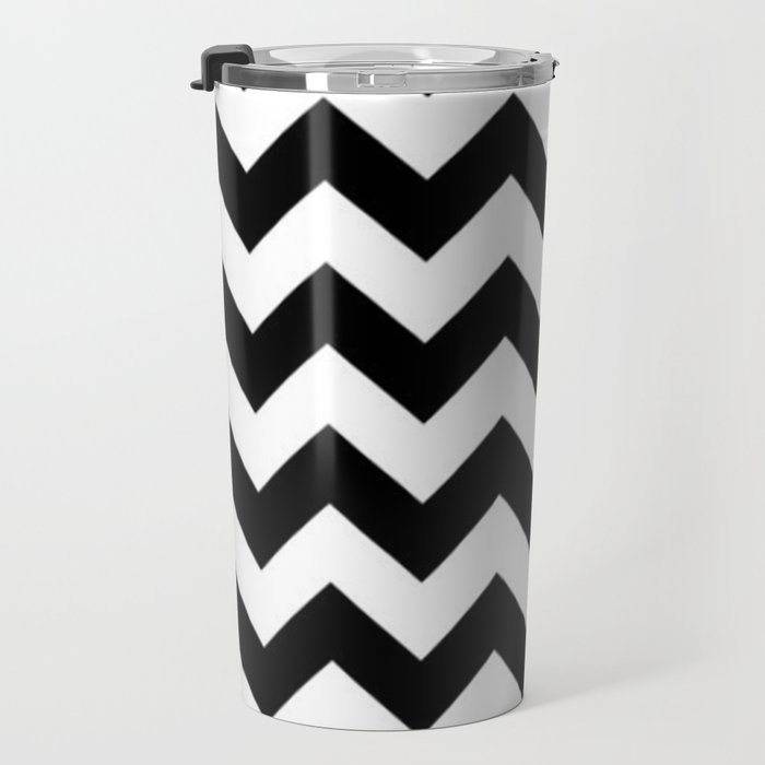 BLACK AND WHITE CHEVRON PATTERN - THICK LINED ZIG ZAG Travel Mug