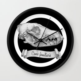 Dog Skull in Ink Wall Clock