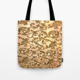 Stylized Foliage Leaves In Gold Tote Bag
