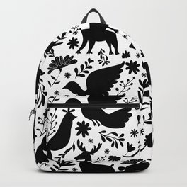 Seamless Mexican Otomi Style monochromatic Pattern Backpack