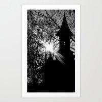 Sunset over  a Church  Art Print