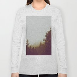 Olive Green Sepia Misty Pine Forest Landscape Photography Parallax Trees Long Sleeve T-shirt