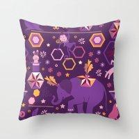 Hexagon circus Throw Pillow