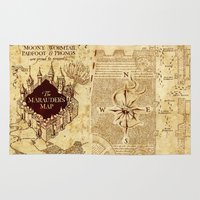 marauders Area & Throw Rugs featuring MARAUDERS MAP by Graphic Craft