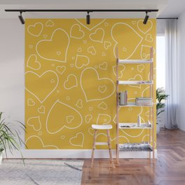 Mustard Yellow and White Hand Drawn Hearts Pattern Wall Mural
