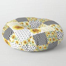 Sunflower Quilt - patchwork, boho, summer, black and white, feminine, floral,  Floor Pillow