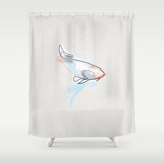 One line Koi Fish Shower Curtain