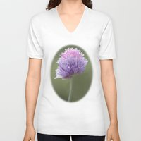 clover V-neck T-shirts featuring Clover by Fran Walding