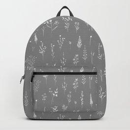 Grey Wildflowers Backpack