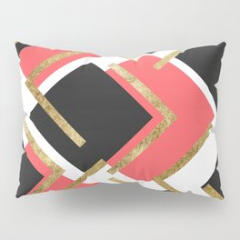 Chic Coral Pink Black and Gold Square Geometric Pillow Sham